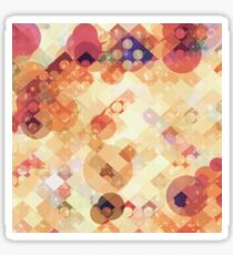geometric square pixel and circle pattern abstract in orange brown Sticker