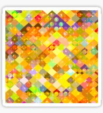 geometric square pixel and circle pattern abstract in yellow orange red blue Sticker