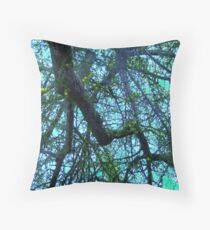 Complex, Cool-Hued Branches Cascading Downward #1 Throw Pillow