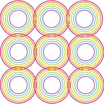 Modern Rainbow Circles Geometric Design by awkwarddesignco