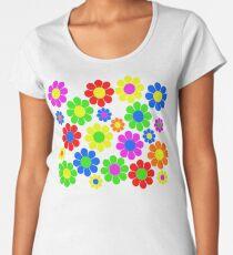 Hippie-Blumen-Gänseblümchen-Frühlings-Muster Premium Rundhals-Shirt
