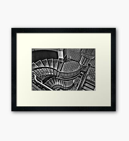 Vertigo - The Grand Stair Case (Monochrome)- QVB , Sydney - The HDR Experience Framed Print