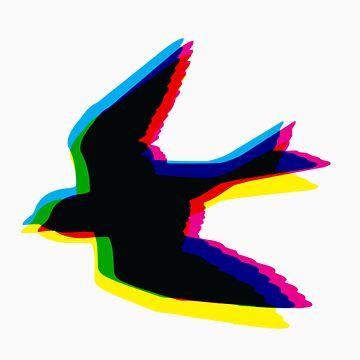 CMYK Sparrow by jimmyraynes