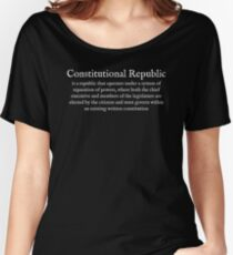 C:Consitutional Republic:Wear Your Dictionary:White Text:English Women's Relaxed Fit T-Shirt
