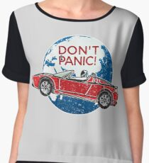 Don't Panic! - a tribute to Elon Musk, Spaceman and the Red Roadster Chiffon Top