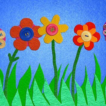 Felt Flower Garden by arumfaerie