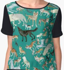 Wolves of the World (Green pattern) Chiffon Top