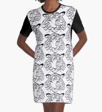 Tiger Arabic Calligraphy Graphic T-Shirt Dress