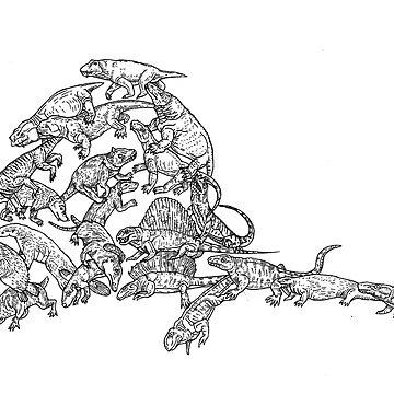 Synapsids (stem mammals) - Black and White - Evolution by EvolutionPoster