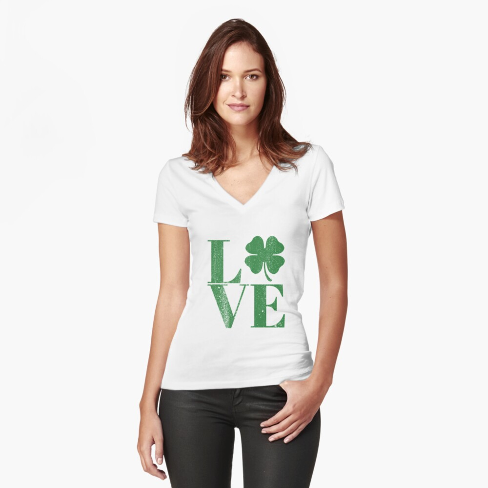 Happy St. Patrick's Day Women's Fitted V-Neck T-Shirt Front
