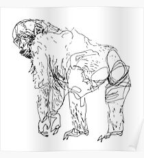 Hand drawn monkey – illustration Poster