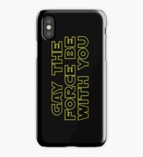 Gay the Force (yellow, outline) iPhone Case