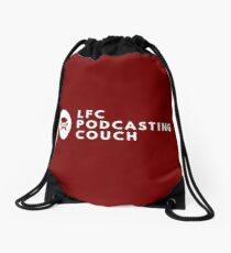 LFC Podcasting Couch Logo - Classic White on Dark Red Drawstring Bag