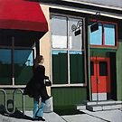 Backstreet Bar and Grill - woman walking in the city - figurative fine art by LindaAppleArt