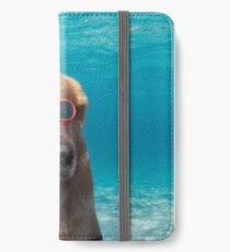 Schwimmer Hund iPhone Flip-Case/Hülle/Skin
