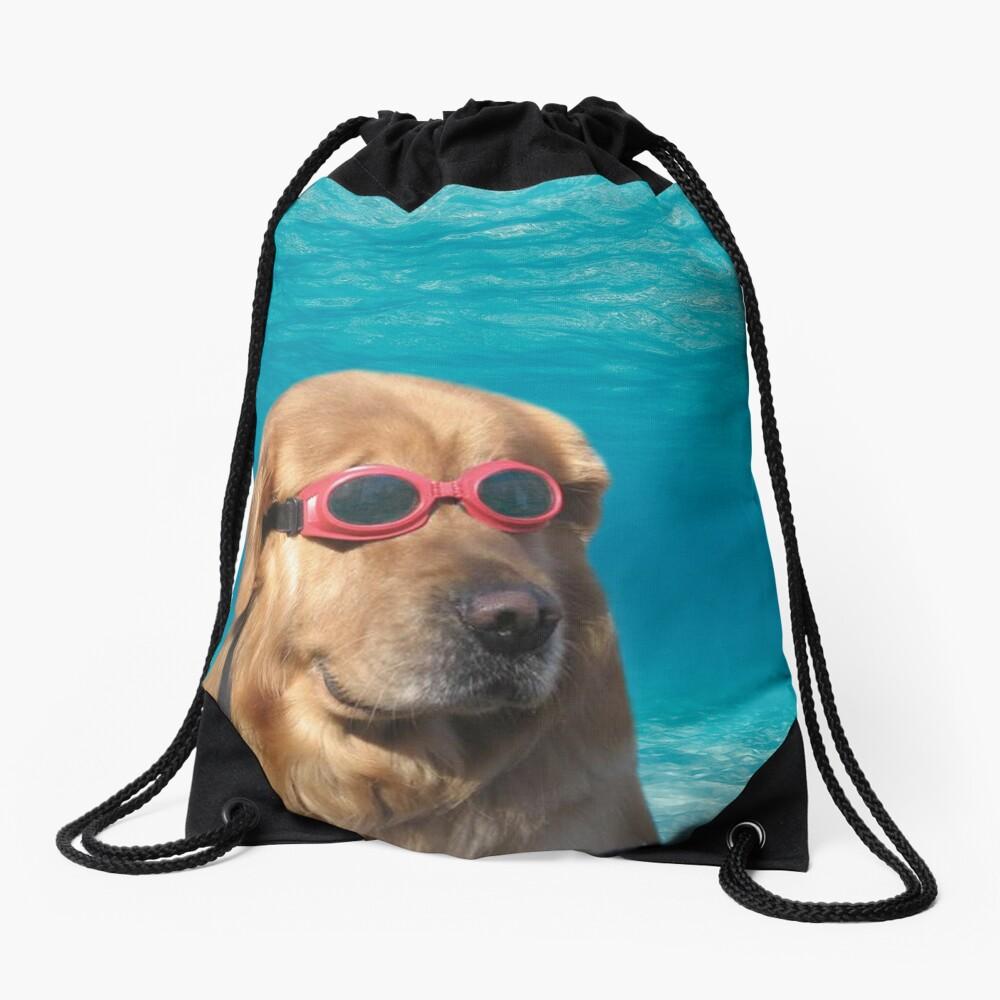 Swimmer Dog Drawstring Bag