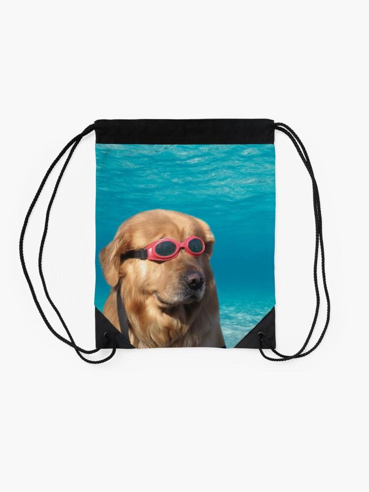 Alternate view of Swimmer Dog Drawstring Bag