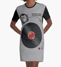DJ Record Player Battle Position Graphic T-Shirt Dress