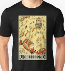 The Lure of the Underground - London vintage poster Slim Fit T-Shirt