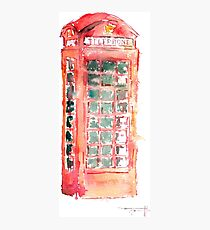 Watercolor drawing of a typical for England a red telephone booth  Photographic Print