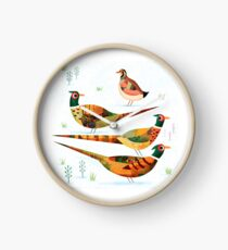 Three Pheasants and a Partridge Clock