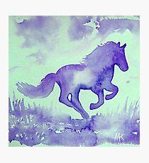 Blaues Aquarell Pferd Fotodruck