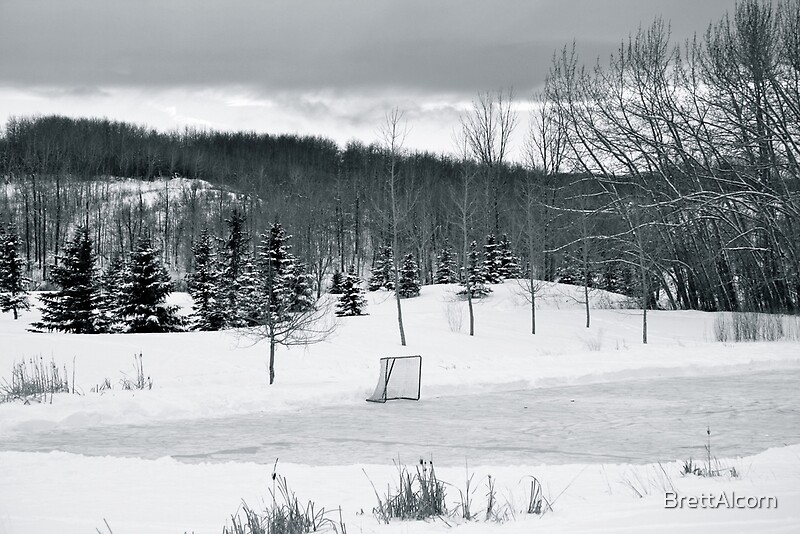 Quot Black And White Pond Hockey Quot Posters By Brettalcorn