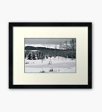 Black and White Pond Hockey Framed Print
