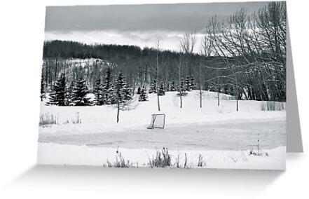 Black and White Pond Hockey by BrettAlcorn