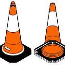 orange and black Traffic cones safety pylons by SofiaYoushi