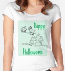 Halloween-böser Kürbis Tailliertes Rundhals-Shirt