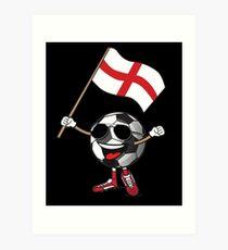 England Football Team Soccer Ball With National Flag Fan Shirt Art Print