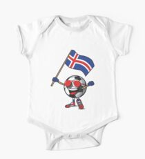 Iceland Football Team Soccer Ball With National Flag Fan Shirt One Piece - Short Sleeve