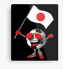 Japan Football Team Soccer Ball With National Flag Fan Shirt Metal Print