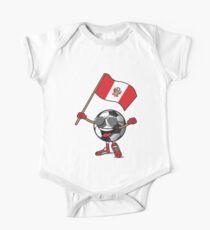 Peru Football Team Soccer Ball With National Flag Fan Shirt One Piece - Short Sleeve