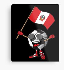 Peru Football Team Soccer Ball With National Flag Fan Shirt Metal Print