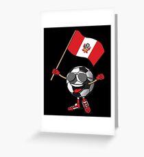 Peru Football Team Soccer Ball With National Flag Fan Shirt Greeting Card