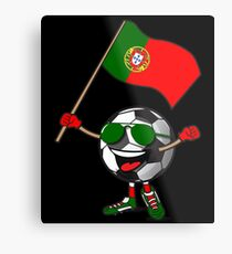 Portugal Football Team Soccer Ball With National Flag Fan Shirt Metal Print