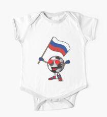 Russia Football Team Soccer Ball With National Flag Fan Shirt One Piece - Short Sleeve