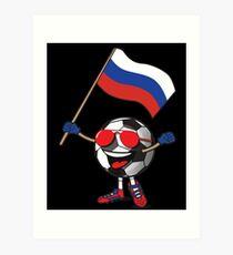 Russia Football Team Soccer Ball With National Flag Fan Shirt Art Print
