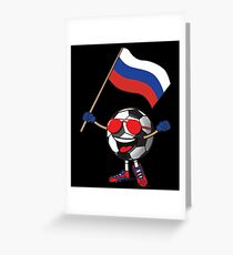Russia Football Team Soccer Ball With National Flag Fan Shirt Greeting Card