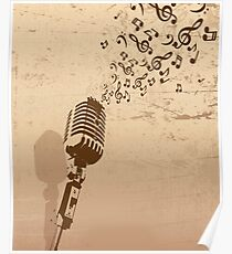 Retro microphone with grunge music concept Poster
