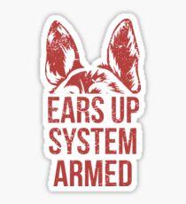 German Sherpherd Ears Up System Armed T Shirt Sticker