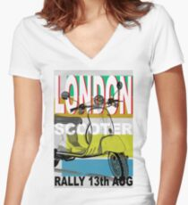London Scooter Rally Women's Fitted V-Neck T-Shirt