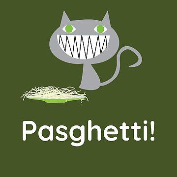 Funny Happy Cat Loves Pasghetti (Spaghetti) Pillow by Snug-Studios
