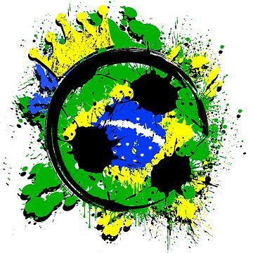 Brazil Futbol Soccer Fan Distressed Splatter World Cup Champion by magiktees