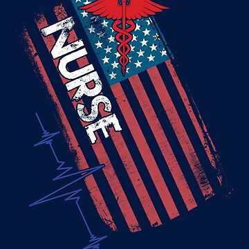 Distressed American Flag Nurse Heartbeat Caduceus by lifestyleswag