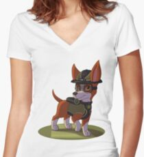 Paw Patrol Mission Paw Tracker Women's Fitted V-Neck T-Shirt