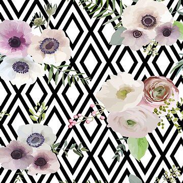 Vintage florals on monochrome geo by peggieprints