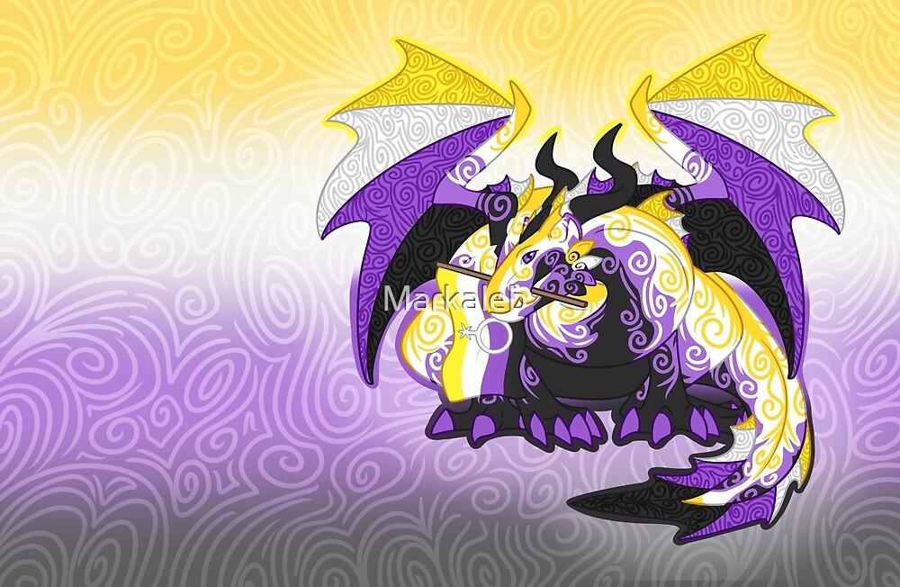 Non-binary pride dragon by Markaleb